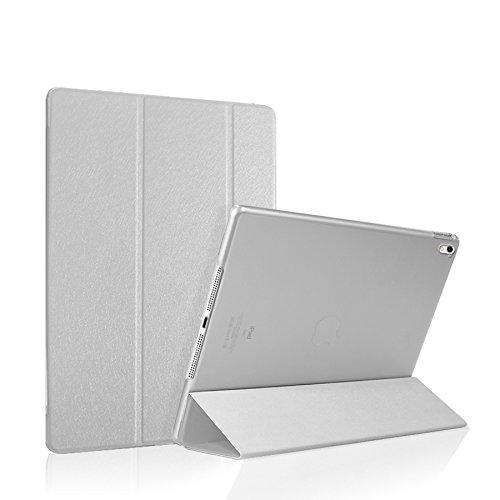 Luch iPad Air 3 2019 und iPad Pro 10.5 Zoll 2017 Hülle Glitter Seide Series Schutzhülle Cover Case Tasche mit Hart PC Durchschaubar Rücken Deckel mit Auto Schlaf - Wach & Standfunktion, Silber