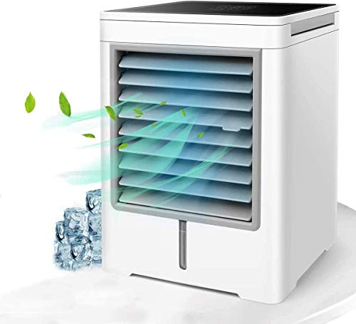 Portable Air Conditioner, Mini Evaporative Air Cooler, Personal Air Conditioner Misting Fan with 3 Wind Speeds Touch Screen Small Desktop Cooling Fan for Home, Bedroom, Office, Dorm, Car, Camping Tent