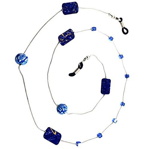 chiwanji 1 Pieza Collar con Perla para Gafas de Sol, Gafas de Lectura - Longitud 78cm - Azul oscuro, 6mm