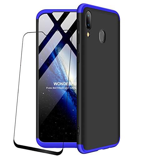 JOYTAG compatibles para Funda Samsung Galaxy M20 Carcasa +Protectora de película de Vidrio Templado 360 Grados Ultra Delgado 3 en 1 Case-Azul Negro