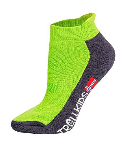 Trollkids Kinder niedrige Wandersocken Trekking Socken, Hellgrün/Limette, Größe 39-42