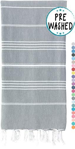 WETCAT Original Turkish Beach Towel (39 x 71) - Prewashed Bath Towels, 100% Cotton - Highly Absorbent, Quick Dry and Ultra-Soft - Washer-Safe, No Shrinkage - Stylish, Eco-Friendly - [Dark Grey]