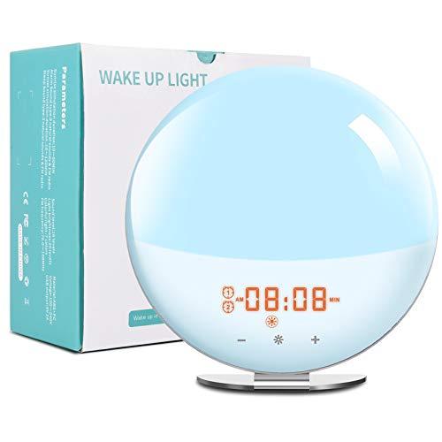 Wake up Light-Luce Sveglia da Comodino con Simulazione Alba e Tramonto Due Sveglie,20 Luminosità,FM radiosveglia,7 Suoni Naturali, Per Adulti e Bambini (7 Colori) [Classe Energetica A+++]
