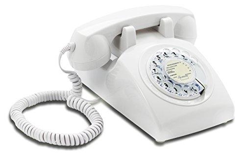 OPIS 60s Cable con Logo de Correos de Francia: Teléfono Estilo Retro/teléfono Vintage de los años Sesenta con Disco de marcar (Blanco)