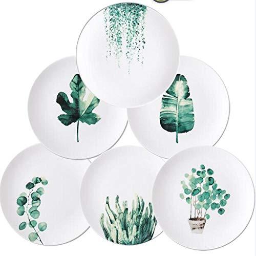 Teller 8 Und 10 Zoll Tropical Monstera Porzellan Teller Geschirr Geschirr Set Dessert Teller Teller 10 Zoll 6 Stück