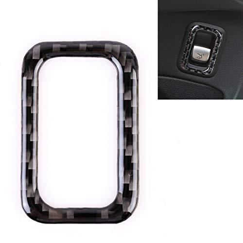 WANGZHEXIA Etiqueta decorativa del botón del interruptor del tronco de la puerta trasera de la fibra del carbono del coche de la tira de la protección del