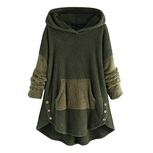 Lulupi Kapuzenpullover Damen Winter Warm Hoodie Pullover Teddy-Fleece Wintermantel Oversize Lange Fleecemantel Casual Plüschjacke Plüschmantel Parka Outwear