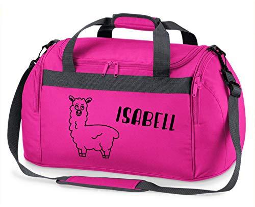 Sporttas met naam | incl. naam | motief Lama Alpaca | personaliseren en bedrukken | reistas schoudertas roze meisje