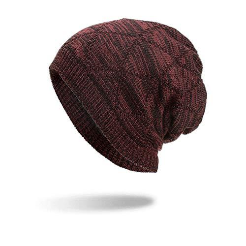 Toamen - Hiver Essentiel - Femme Homme Chaud Crochet Hiver Villus Tricoter Bonnet Casquettes Chapeau Oreille Protection Plus épais (B-04)