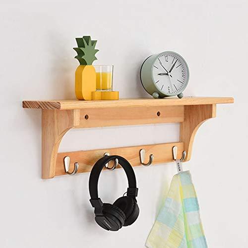 CSQHCZS-JSD Rustik vägggarderob hylla, trä lantlig entré hylla med rustik krok, för din ingång/morrum/kök/badrum och mer ++ (färg: Träfärg, storlek: 4 krokar)