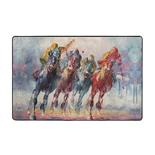 Alfombra antideslizante para salón, dormitorio, 152,4 x 99,1 cm, diseño de carreras de caballos