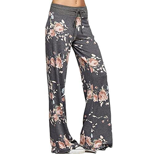 Abkaeh Dunhuang Pantalones de Yoga Europeos y Americanos Pantalones de Pierna Ancha Impresos Cuatro Colores S-3XLH134-Dark Grey_L