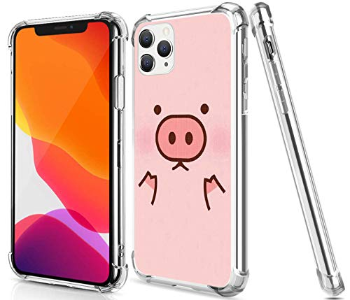 Pig Case for iPhone 12 Pro Max,Gifun Hard PC+TPU Bumper Clear Protective Case Compatible with iPhone 12 Pro Max 6.7inch Release 2020 - Pink Cute Pig