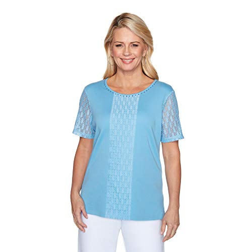 Alfred Dunner Women's Jewel Neckline Soft Knit TOP with LACE Sleeves, Sky Blue, L