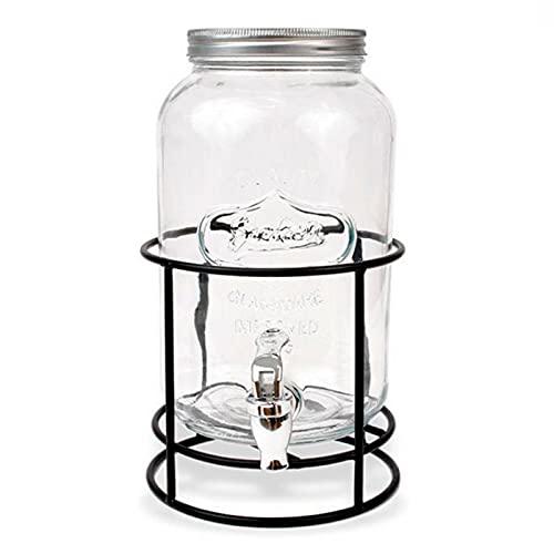 La Mediterránea - Tarro dispensador de bebidas de vidrio con grifo y soporte 3 L. Bote dispensador, botella con grifo, garrafa, jarra de cristal con grifo 32,5 x 16,5 cm