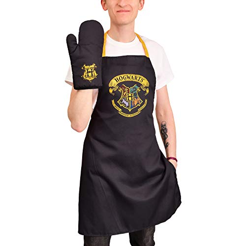 Elbenwald Harry Potter Schürze mit Ofenhandschuh Set 2 teilig Hogwarts Wappen und Siegel Logo schwarz