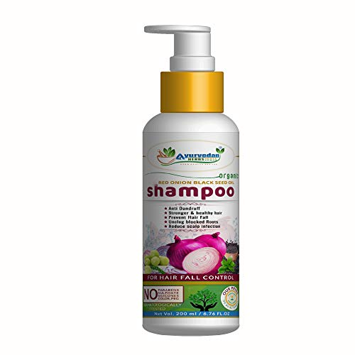 Ayurvedan Herbs Red Onion Black Seed Oil Shampoo 200 ML for Stronger Hair, Reduce Hair Fall