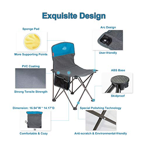 Yolafe Oversized Folding Camping Chair Portable Armless Lightweight Stool Compact Supports 300 lbs for Outdoor Fishing Sporting Events Picnic Beach with Carry Bag