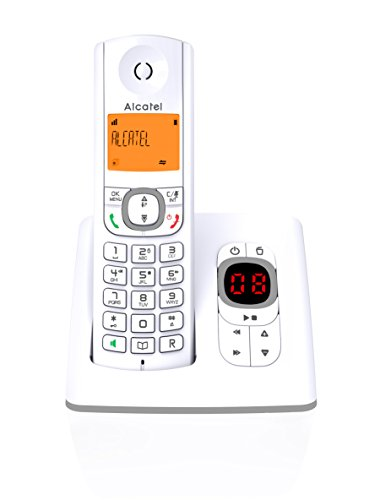 Alcatel F530 Voice - Téléphone sans fil DECT aux coloris contemporains, Répondeur intégré, Mains libres, Ecran rétroéclairé, Sonneries VIP, 10 mélodies d'appel - Blanc/Gris
