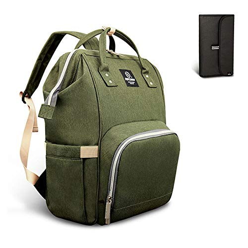 Pipi bear Diaper Bag Travel Backpack,Large Baby Bag for Mom and Dad,Multifunction Maternity Bag with Changing Pad,Waterproof and Stylish (Olive Green)
