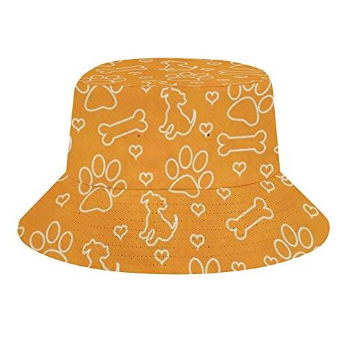 Sombreros de cubo transpirable con parte superior plana naranja y blanco Perrito Azulejo (1190) Unisex Bucket Hat Summer Fisherman A1