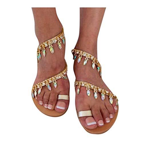 Luckycat Sandalias De Vestir Plano para Mujer Verano Primavera 2020 Calzado Chanclas Fiesta Playa Elegantes Sandalias De Punta Abierta Roma Casual Fiesta Cómodo
