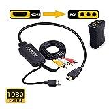 Cable adaptador HDMI a RCA, HDMI a RCA, cable adaptador de HDMI 1080P HDMI a AV 3RCA CVBs, soporte de audio compuesto a Amazon Fire Stick, Roku, Chromecast, PC, portátil, Xbox, HDTV, DVD