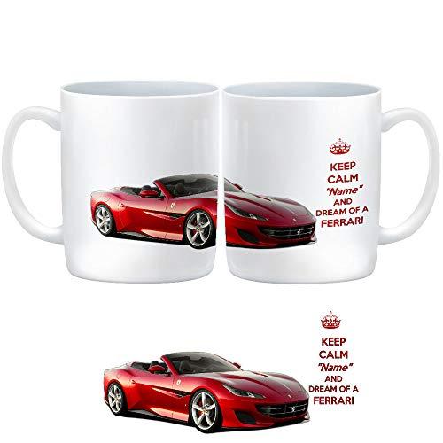 Taza de cerámica personalizada con un Ferrari Portofino Sports Car con texto en inglés 'Sorry I can't buy you The Real...