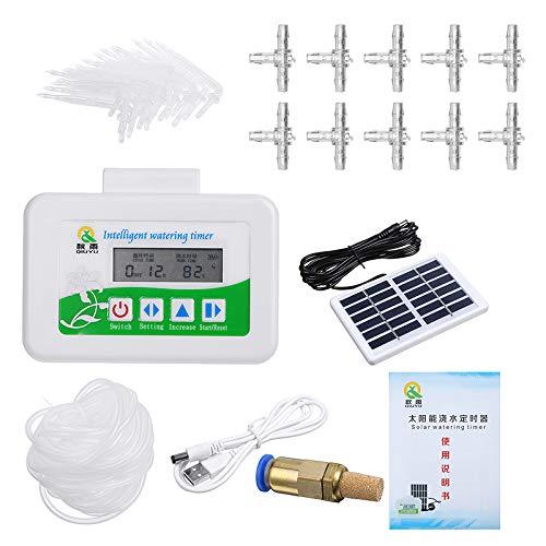 45Pcs Solar Intelligent Watering Timer Automatic Drip Irrigation + 10M Hose + Solar Panel + Copper Filter Nozzle