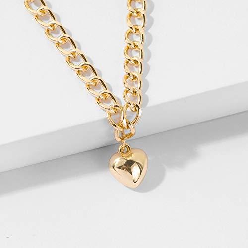 QiuYueShangMao Collar de Cadena para el Cuello, Bonito Collar con Bloqueo de corazón, Gargantilla de Color, Colgante, Accesorios para Mujer, Collar de Amistad Regalo de cumpleaños