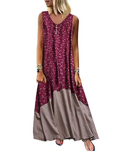 Kidsform Vestido largo de verano para mujer, vintage, sin mangas, retro, lino, algodón, talla grande, elegante rojo M