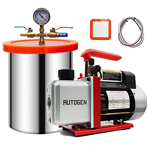 AUTOGEN 3 Gallon Vacuum Chamber Kit Tempered Glass Lid with 4 CFM Single Stage Vacuum Pump HVAC, Perfect for Stabilizing Wood, Degassing Silicones, Epoxies and Essential Oils