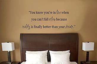 Imprinted Designs You Know You're in Love When. Dr Seuss Quote Vinyl Wall Decal Sticker Art