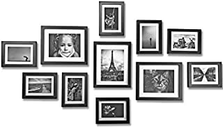 Ray & Chow Black Gallery Wall Picture Frames Set- 11 Frames- Solid Wood- Glass Window-Made to Display 8x10 5x7 Pictures Without Mat or 5x7 4x6 Pictures with Mat - Hanging Hardware Included