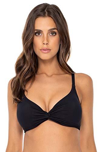 Sunsets Women's Olivia Tie Back Bra Sized Bikini Top Swimsuit, Black, 40DD