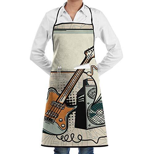 PONIKUCY Schürze Kochschürze,Musikdesign Gitarre, Verstärker und Sprechblase,Küchenschürze Latzschürze Nackenband