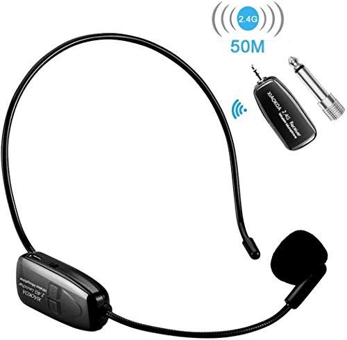 XIAOKOA Drahtloses Mikrofon 2.4G Headset Mikrofon, 40m Kabelloses Mikrofon, Stabile Headset und Handheld 2 In 1 für Konferenzen,Reiseleiter,Unterricht,Wiederaufladbar Wireless Mikrofon