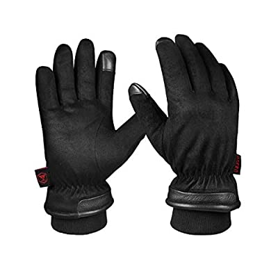 OZERO Gloves Thermal Gloves for Men Extreme Cold Freezer Gloves for Work Below Zero Hand Warmer Waterproof Winter Snow Ski Gloves — Wind-Resistant with Touchscreen Fingers — Black, Large, One Pair