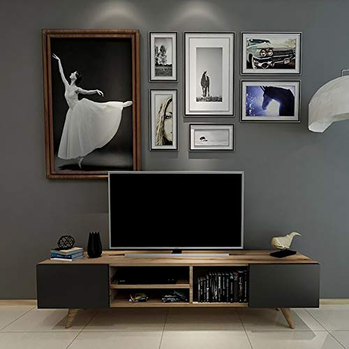 Homemania Mobile Porta TV Dore, Legno, Noce-Nero, 160x29,7x40,6 cm