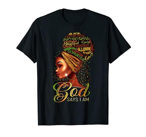 African American Girl God Says I Am Black Pride T-Shirt