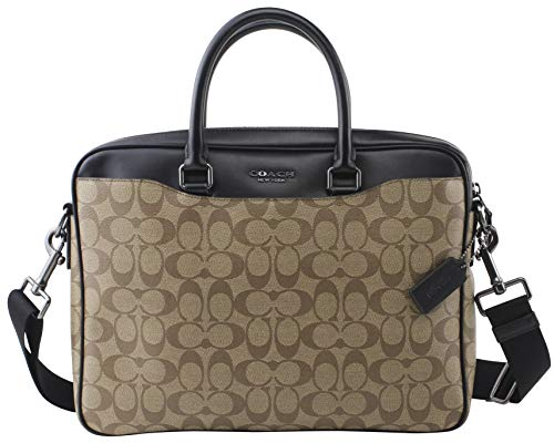 Coach Novelty Signature Canvas Leather Laptop Briefcase in QB Tan, Style F72972