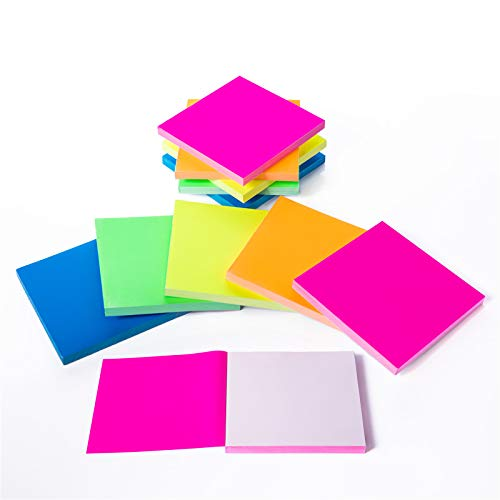 Sticky Notes 3x3 inches,Glue Free Static Cling Sticky Notes,Waterproof Self-Stick Pads,Easy to Post for Studying,Office, School, and Home 100 Sheets/pad