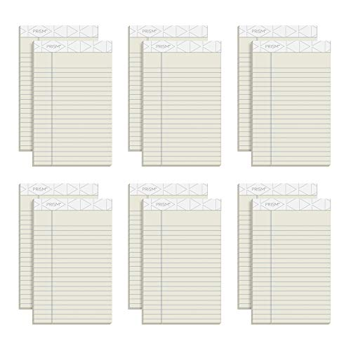 TOPS Prism Plus 100% Recycled Legal Pad, 5 x 8 Inches, Perforated, Ivory, Narrow Rule, 50 Sheets per Pad, 12 Pads per Pack (63030)