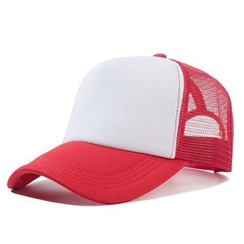1 Uds, Gorra Unisex Informal, Gorra de béisbol de Malla Lisa, Sombreros Ajustables para Mujeres, Hombres, Gorra de Camionero de Hip Hop, Gorra de papá-Red White-54cm-60cm