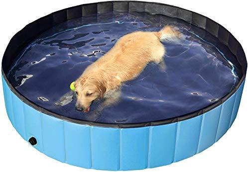 QUANHAO Haustierschwimmbad, Hundebecken, Katzenhundebecken, Schwimmbad, Hundespielbecken, Klappbecken, ungiftiges PVC mit Griffen (120cm)
