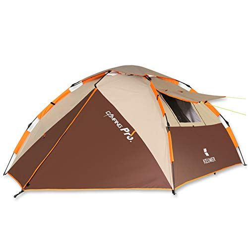 GFBVC Camping Tent 3-4 Person Family Instant Pop Up Portable Tents For Camping Portable Waterproof Tent (Color : Brown, Size : One Size)