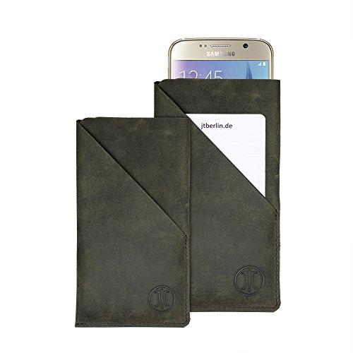 JT Berlin SlimHülle Wallet stone für Apple iPhone 7 Plus / 8 Plus, Sony Xperia Z5, Samsung Galaxy Note 5 uvm. - 3XL [Echtleder I Handarbeit I Praktisches Fach] - 10147