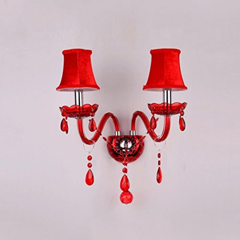 NJ Wandlampe- Rote LED Kristall Wandleuchte Doppelkopf Hotel Wohnzimmer Nachttischlampen