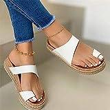 LYYJF Sandalias con Punta Abierta Mujer de Cuña Respirable Zapatos con Plataforma de Verano Zapatos Casuales Talla 36-43,Blanco,37