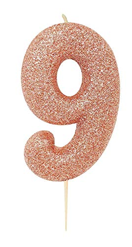 CREATIVE PARTY Age 9 Glitter Numeral Moulded Pick Candle Rose Gold